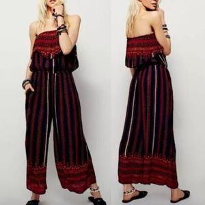 Free People Hobo Woven Strapless Jumpsuit Sz XS